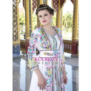 Moroccan Kaftan Wedding Dress with Hand Embroidered Moroccan Traditions
