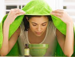 , A bowl with hot water, drape a towel over your head.
